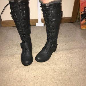 Black Knee High Combat Boots